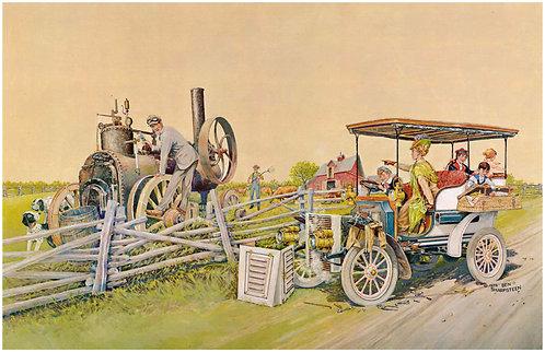 """Roadside Repairs- White Steamer - 11"""" x 17"""""""