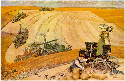 "Holt Harvesters with Locomobile - 11"" x 17"""
