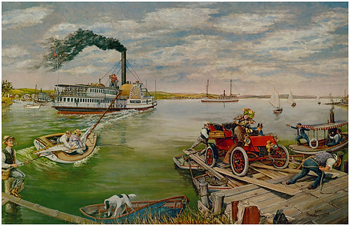 """River Steamer and 1903 Ford - 11"""" x 17"""""""