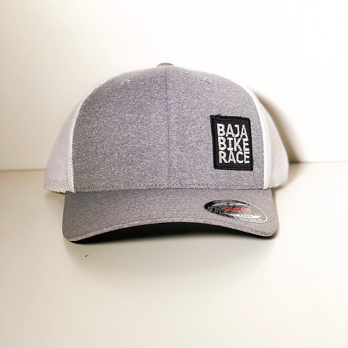 BBR Gray White 6 Panel Trucker