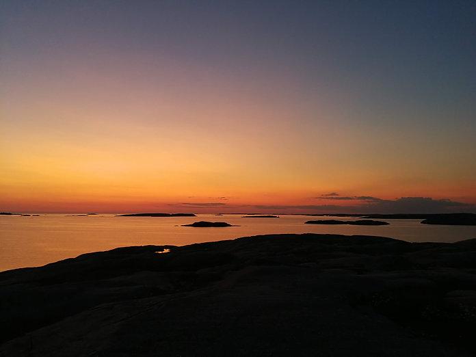 solnedgang skærgård