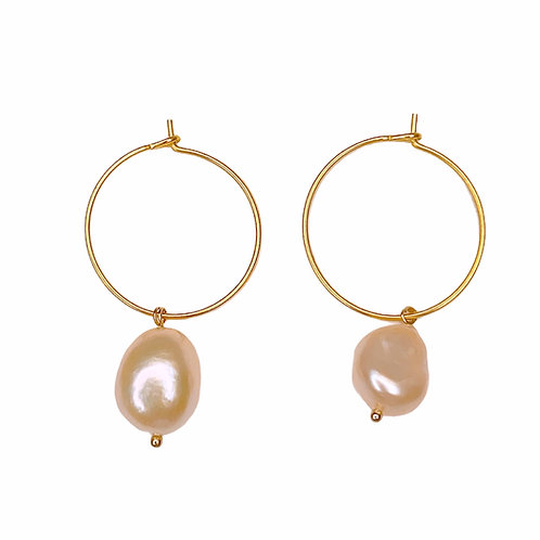 Pink Pearl Hoops (Gold)