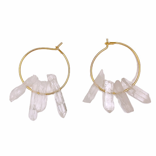Clear Quartz Hoops (G)