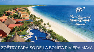 Zoëtry Paraiso de la Bonita Riviera Maya Awarded AAA Five Diamond Award for 15th Consecutive Year