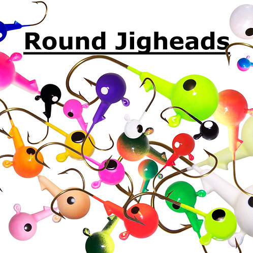 ROUND JIGHEADS - 8 SIZES - UP TO 24 COLOR CHOICES
