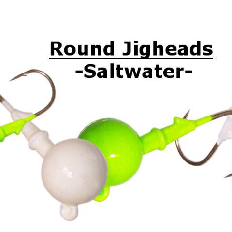 ROUND JIGHEADS - SALTWATER - 4 SIZES - 3 COLORS + PLAIN (Unpainted)