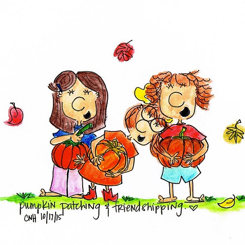 """Pumpkin Patching & Friendshipping"" Greeting Card"