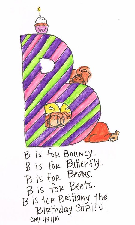 """B is for..."" Girl Greeting Card"