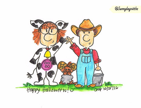 """The Farmer & The Cow"" Greeting Card"