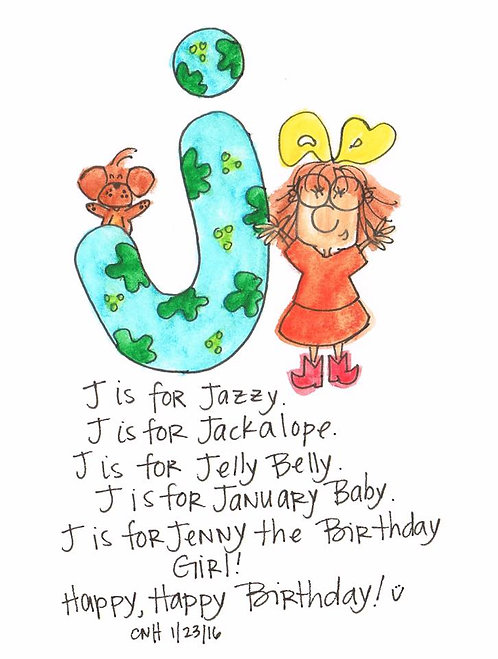 """J is for..."" Greeting Card"