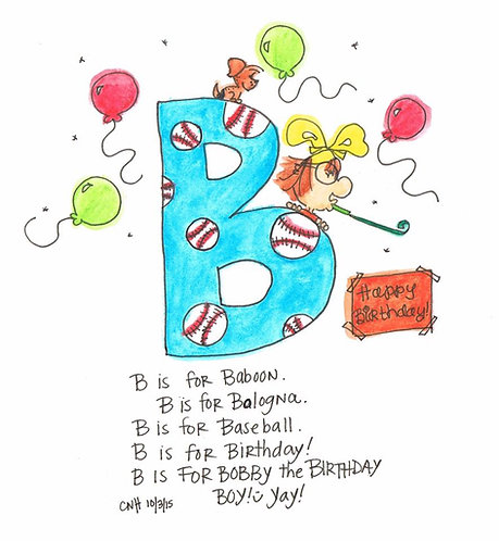 """""""B is for..."""" Boy Greeting Card"""