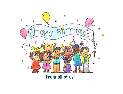 """Happy Birthday from all of Us"" Greeting Card"