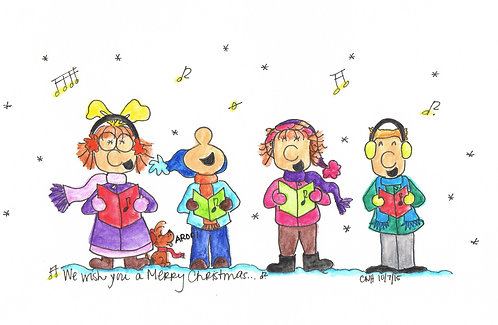 """Christmas Carolers"" Greeting Card"