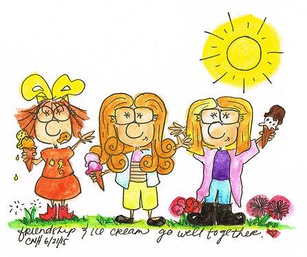 """Friendship & Ice Cream"" Greeting Card"
