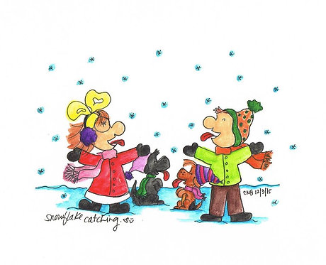 """""""Snowflake Catching"""" Greeting Card"""