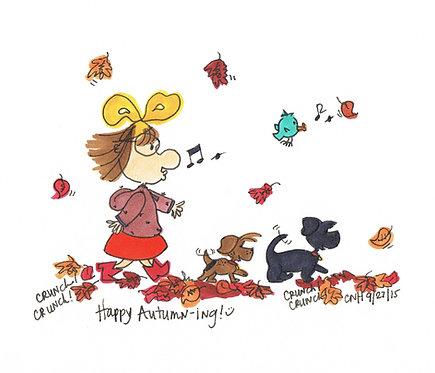 """Happy Autumn-ing"" Greeting Card"