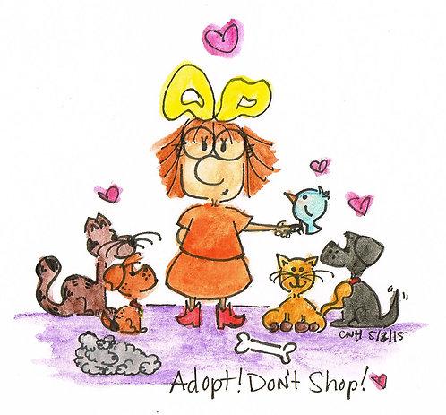 """Adopt! Don't Shop!"" Greeting Card"