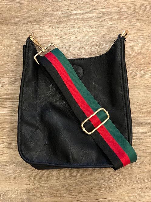 BLACK MINI MESSENGER BAG W/STRIPE STRAP