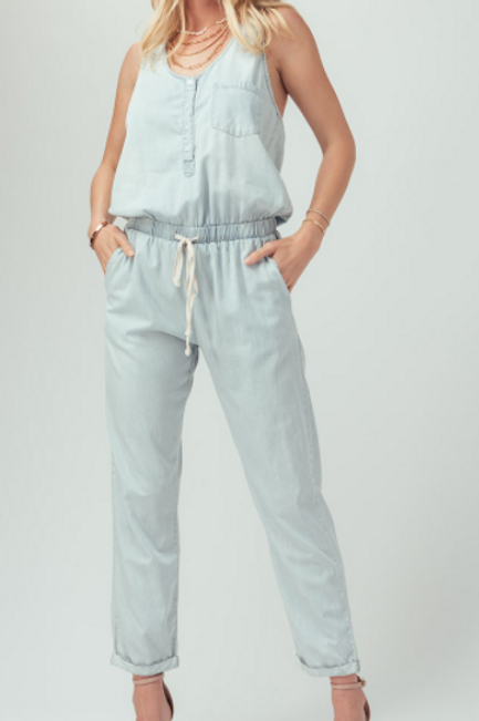 WASHED CHAMBRAY BUTTON DOWN JUMPSUIT