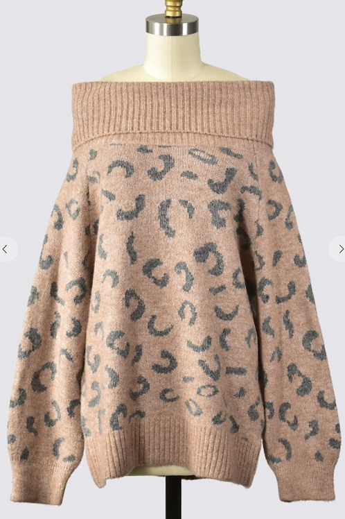 OFF THE SHOULDER ANIMAL SWEATER
