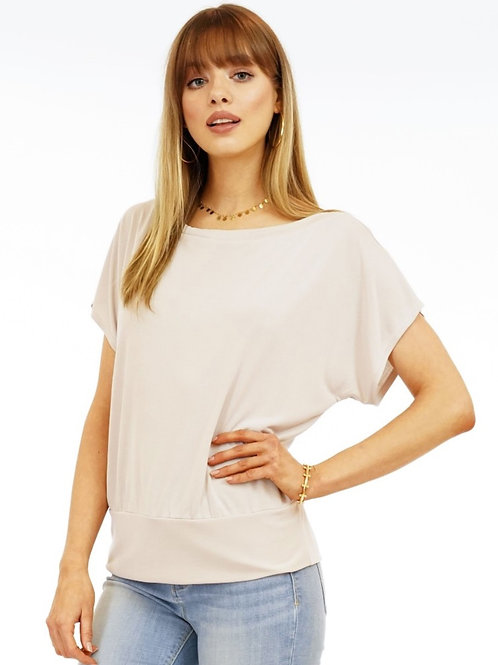 SHORT SLEEVE CUPRO BANDED TOP