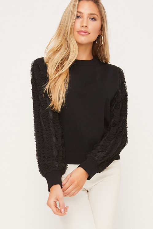 FRILLY CONTRAST SLEEVE SWEATER
