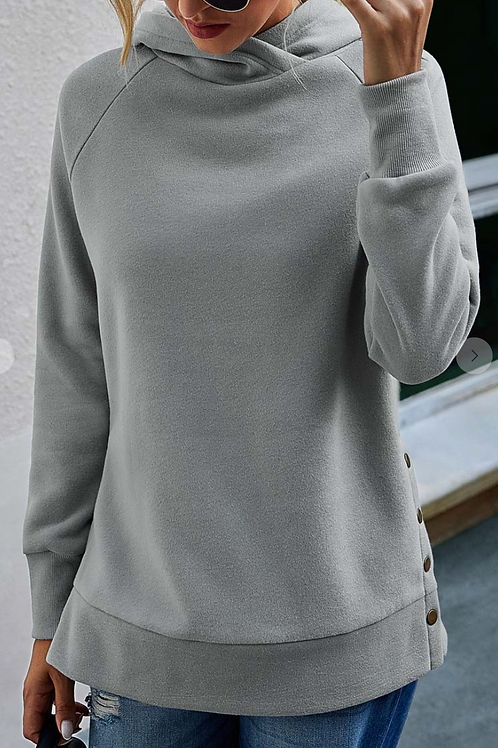 SIDE BUTTON LONG SLEEVE HOODIE