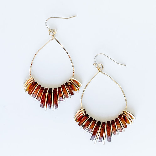 GOLD & WOOD TEARDROP EARRINGS