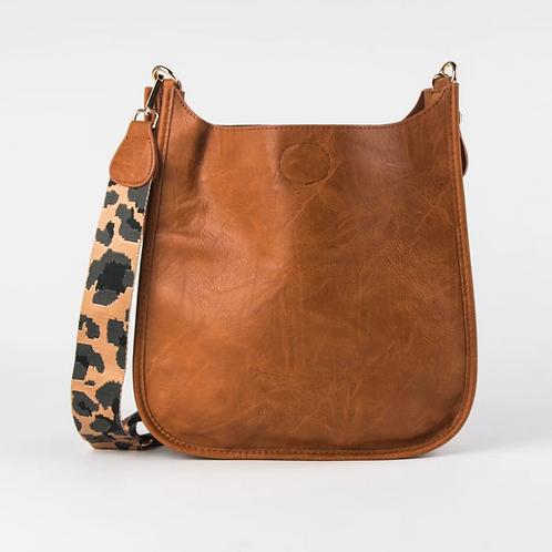 CAMEL MESSENGER BAG W/LEOPARD STRAP