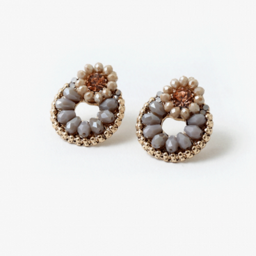 BEADED CIRCLE STATEMENT EARRING
