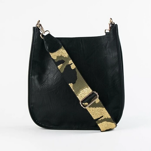 BLACK MESSENGER BAG W/GOLD CAMO STRAP