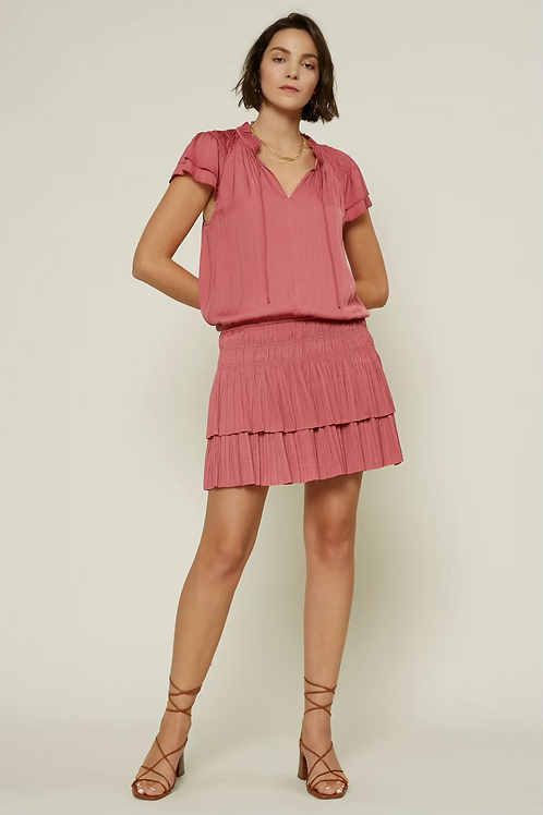 FLUTTER SLEEVE PLEATED MINI DRESS