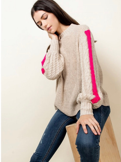 RIB KNIT SWEATER WITH STRIPE BALLOON SLEEVE