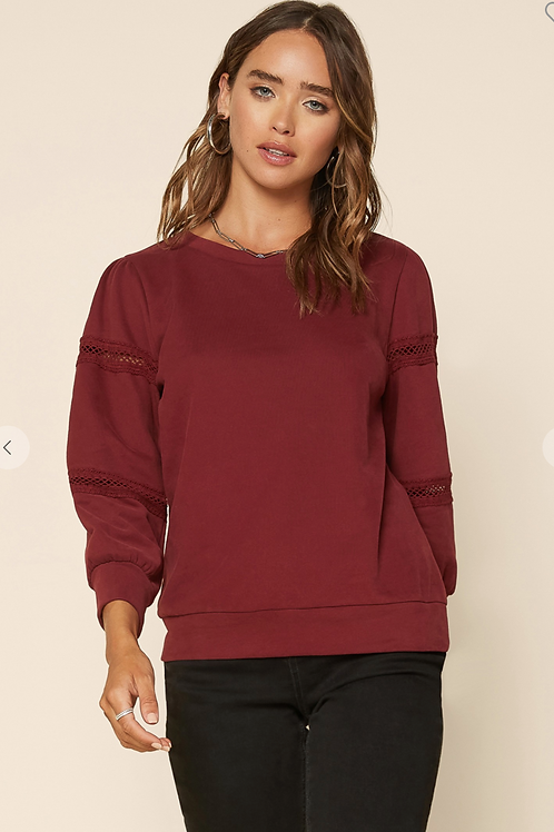 PULLOVER SWEATSHIRT WITH LACE DETAIL