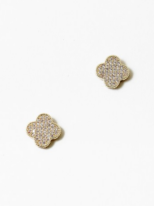CUBIC CLOVER STUDS