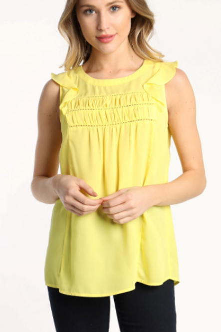 CHEST SHIRRING LACE TRIM SLEEVELESS TOP