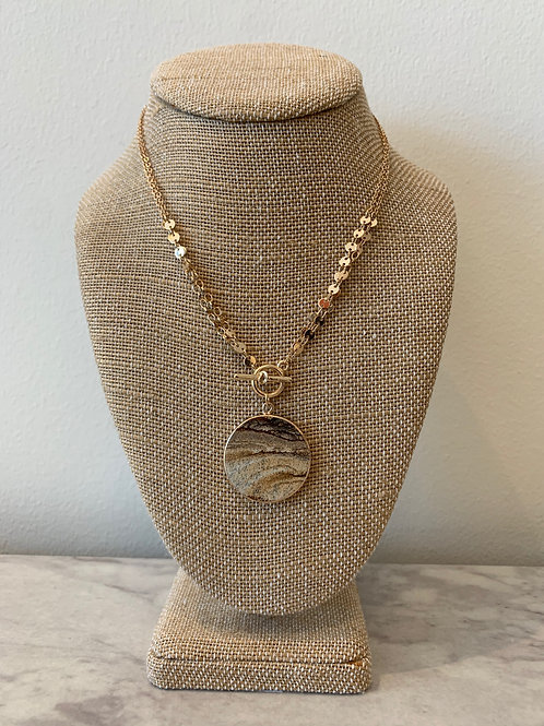 NATURAL STONE DISK TOGGLE NECKLACE