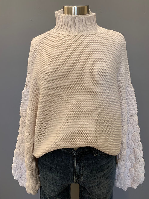 PUFF SLEEVE CHUNKY MOCK NECK SWEATER