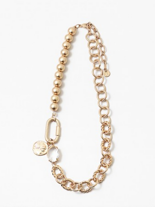 MIXED LINK GOLD BALL NECKLACE