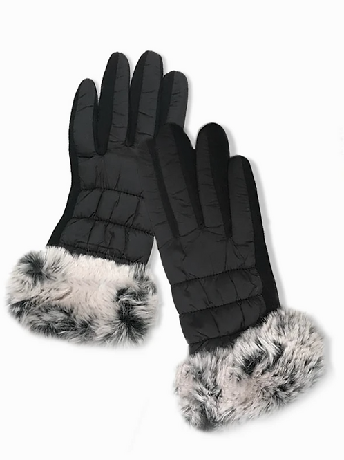 FUR TRIM PUFFER GLOVES