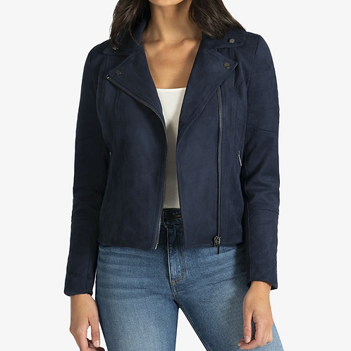 NAVY FAUX SUEDE MOTO JACKET