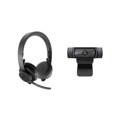 Logitech Zone Wireless Headset + C920e Webcam Bundle