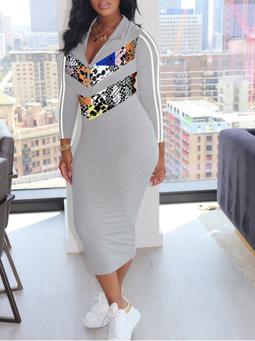 Grey Mid Calf Dress