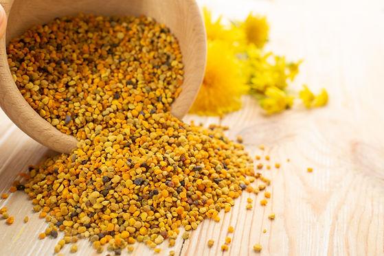 Macro shot of bee pollen or perga in woo
