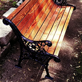 Metal and Wood Bench