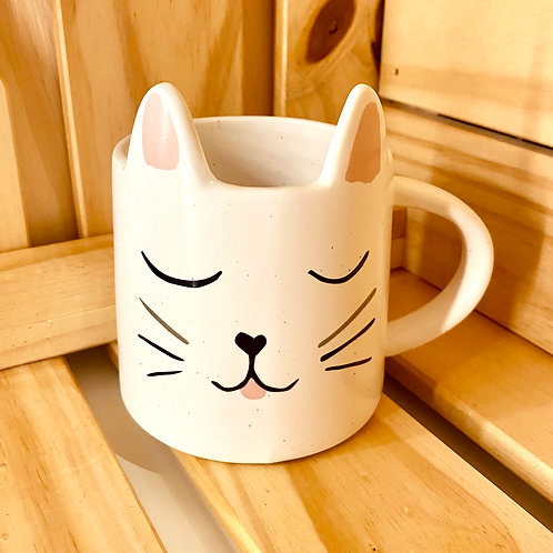 Cat Mug with Ears & Mouth (white)