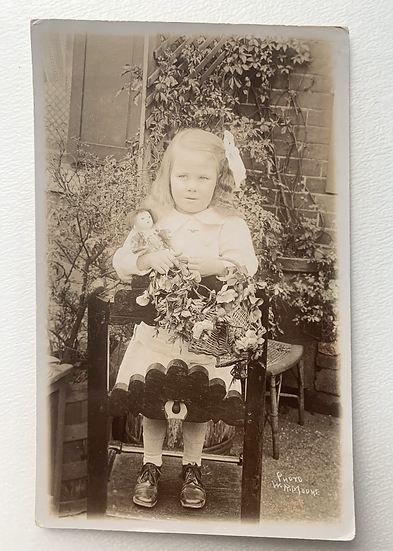 Delightful Real Photo Postcard - Girl with Doll