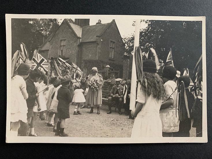 c1930s UK Children waving Union Jack Flag (royalty?)