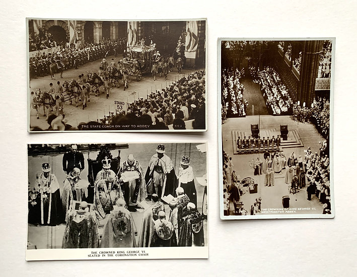 3 x Real Photo Postcards Coronation of King George VI