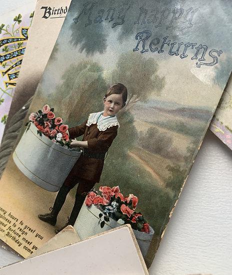 Set of 46 - Victorian - Mid Century Birthday Cards